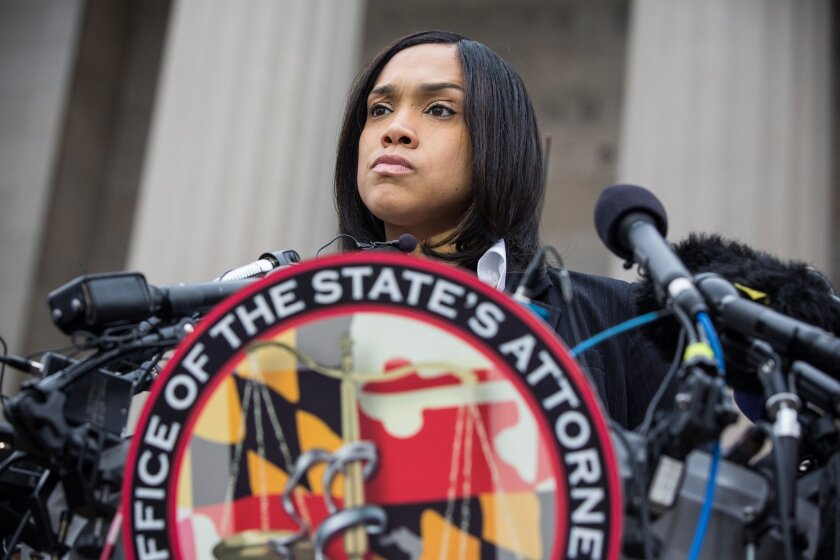 Baltimore State's Atty. Marilyn J. Mosby announces criminal charges Friday against six Baltimore police officers in the death of Freddie Gray.