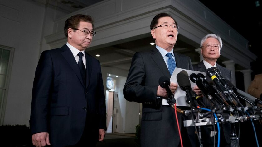 South Korean intelligence chief Suh Hoon, left, national security director Chung Eui-yong and Ambassador to United States Cho Yoon-je at the White House on Thursdsay.