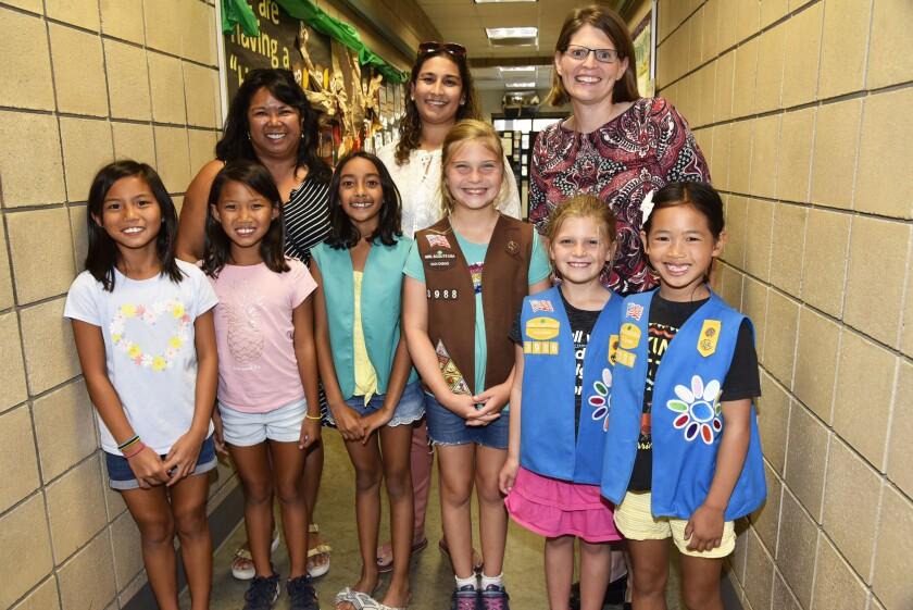 Belinda Young, Neha Sambath, Melissa Cameron, with Audrey, Phoebe, Sohini, Emily, Chloe, and Emi