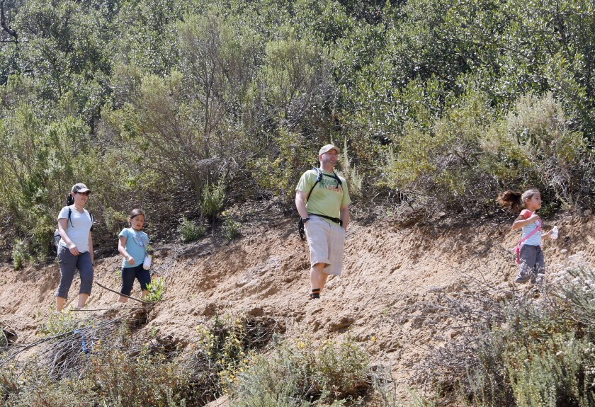 The Ward family make their way through the Catalina Verdugo trail at the Glendale Sports Comoplex in this file photo from June 1, 2013.