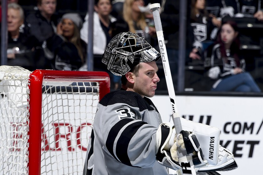 Kings goaltender Jonathan Quick waits for play to resume during a game against the Vegas Golden Knights on April 6.