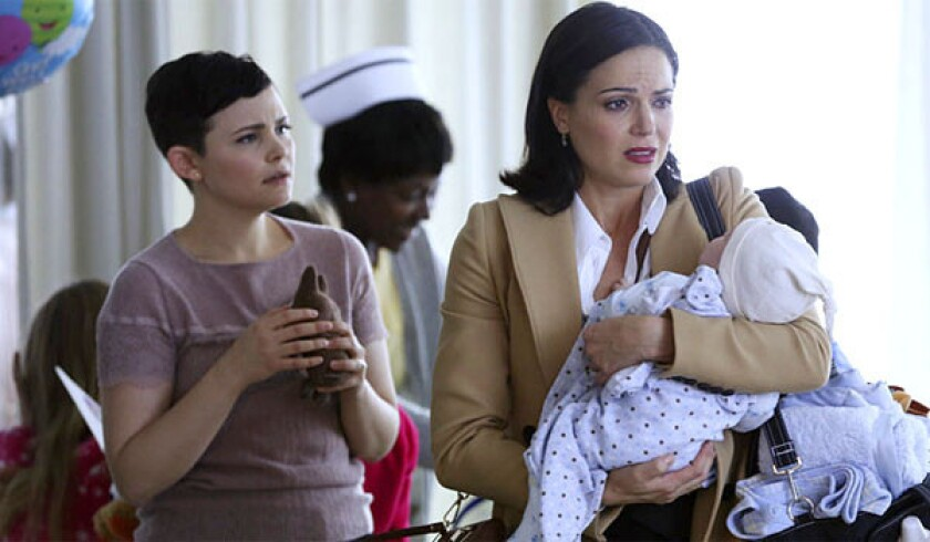 """Snow White/Mary Margaret (Ginnifer Goodwin, left) and Evil Queen/Mayor Regina (Lana Parrilla) in """"Once Upon a Time."""""""