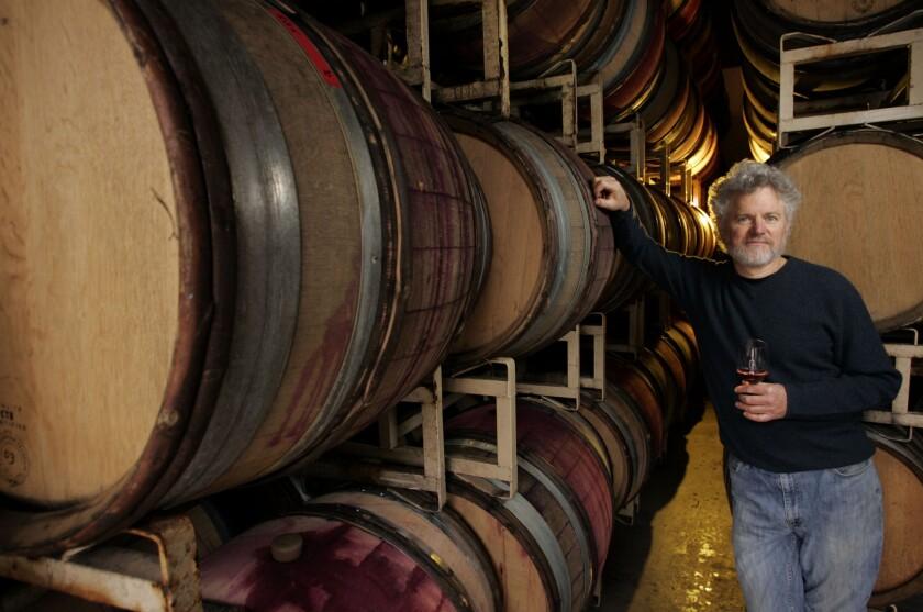 Winemaker Adam Tolmach in his barrel room