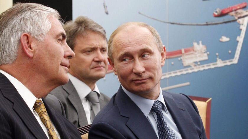 Rex Tillerson, Alexander Tkachev and Vladimir Putin