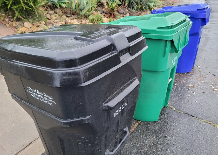 City of San Diego trash cans lined up for pickup.