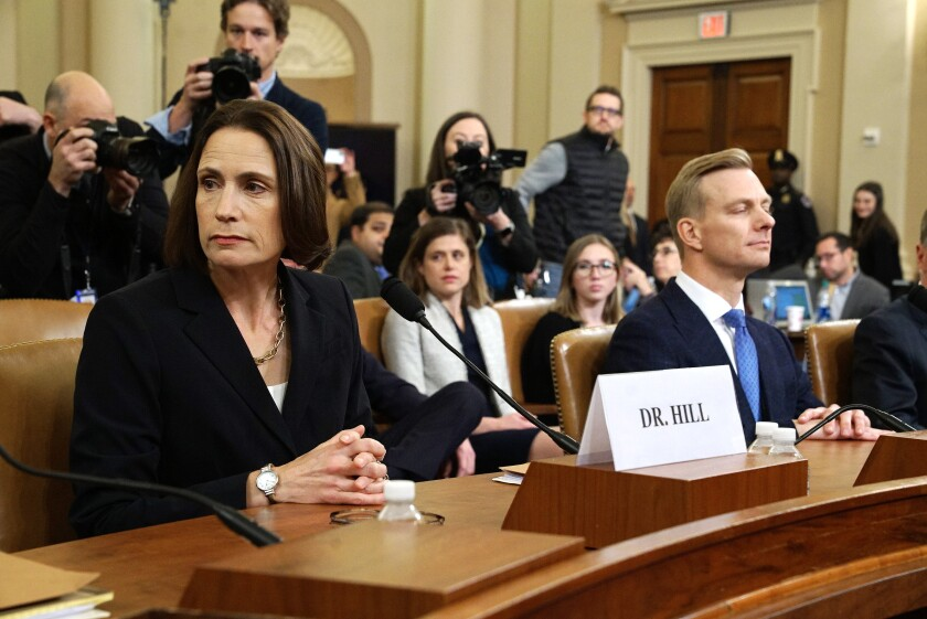 Former White House national security aide Fiona Hill and David Holmes, a U.S. diplomat in Ukraine, during their testimony to the House Intelligence Committee on Nov. 21.