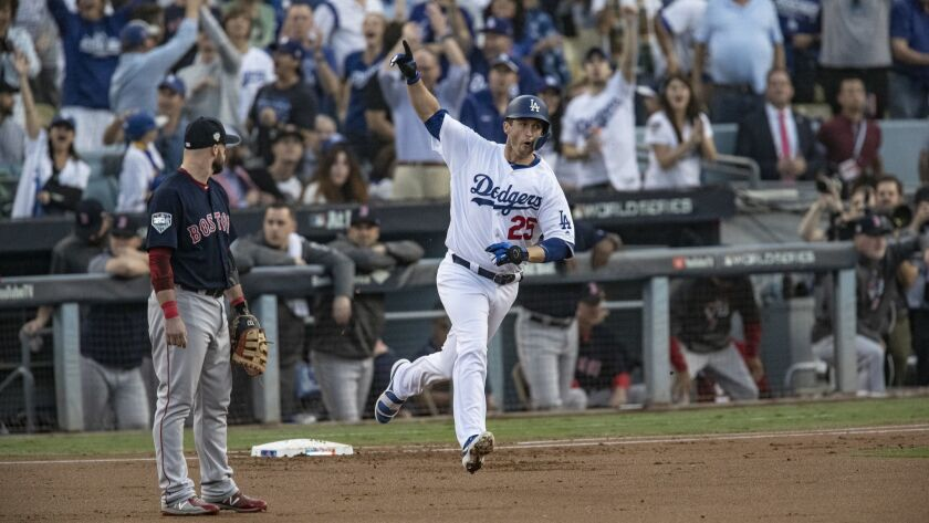 Dodgers first baseman David Freese (25) reacts after hitting a solo homer in the first inning of Game 5 of the World Series.