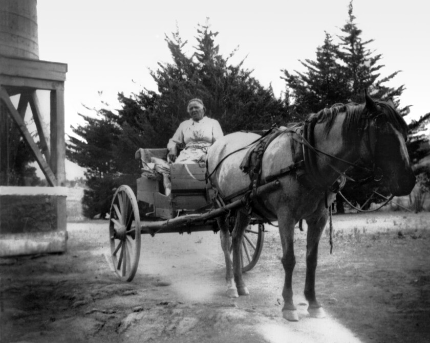 America Newton with her laundry cart, circa 1910.