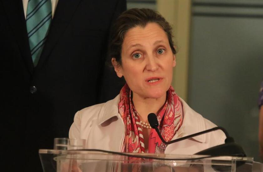 """La ministra de Asuntos Exteriores de Canadá, Chrystia Freeland, se reunió hoy con Craft y explicó en Twitter que le expresó su apoyo, ya que la amenaza es """"inaceptable"""". EFE/Archivo"""