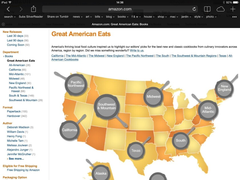 Amazon's map of cookbook trends region by region