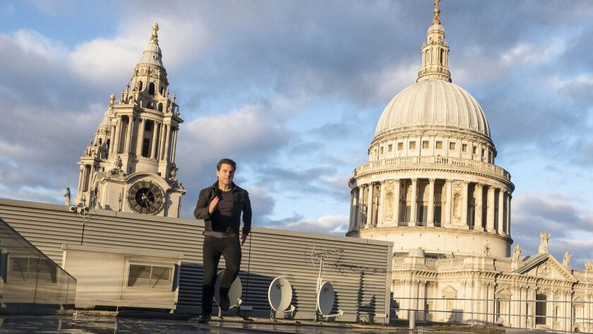 """Tom Cruise runs on a London rooftop in """"Mission: Impossible — Fallout."""""""