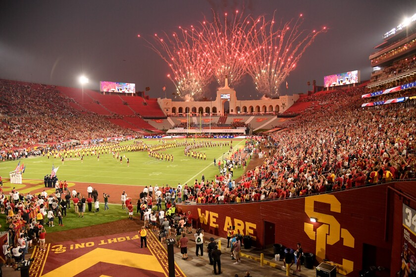 A view of the Coliseum field before the game between Fresno State and the USC on Aug. 31, 2019.