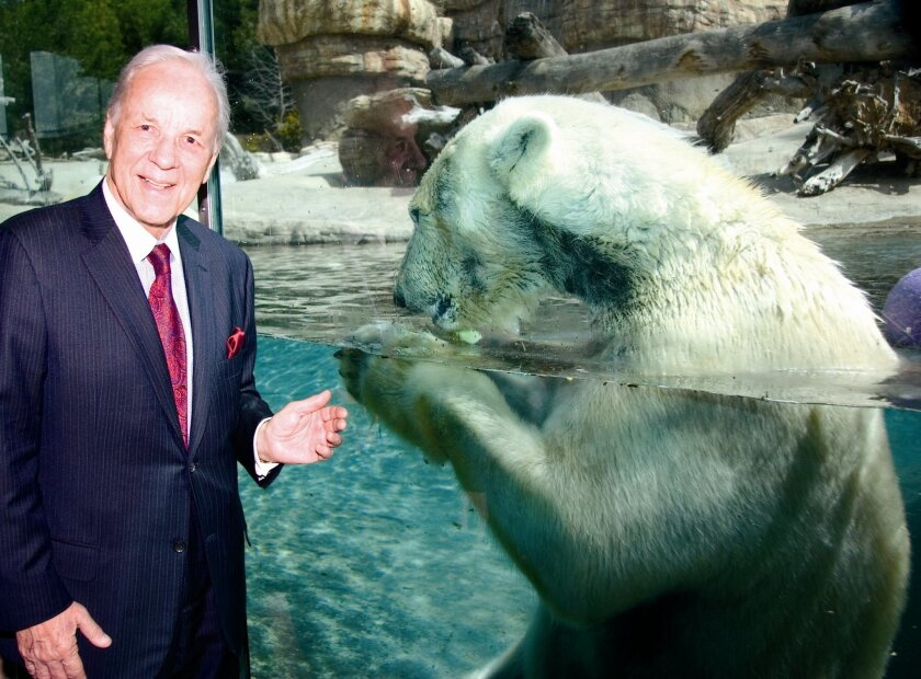 Philanthropist Conrad Prebys at the San Diego Zoo polar bear exhibit.