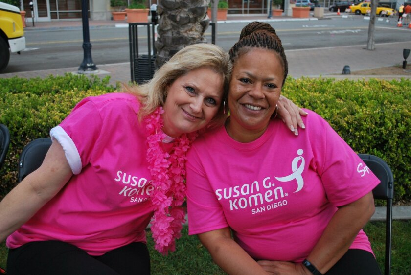 Fran Robinson, left, and Rochelle Bradley , two friends and Sycuan co-workers who are this year's Susan G. Komen Honorary Breast Cancer Suvivors. Courtesy photo