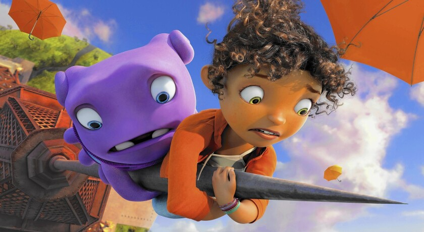 """Oh (voiced by Jim Parsons) and Tip (voiced by Rihanna) in """"Home."""""""