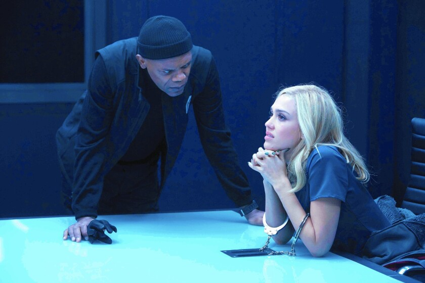 """Samuel L. Jackson and Jessica Alba in """"Barely Lethal."""""""
