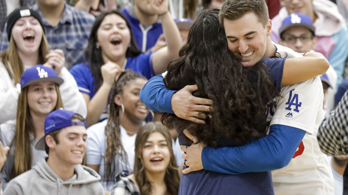 Dodgers lift spirits at Saugus High two months after deadly shooting