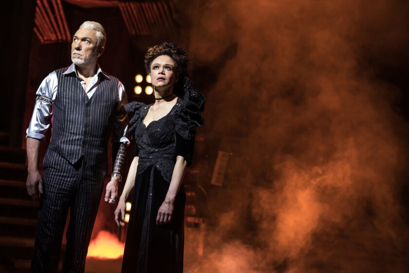 "(L-R)- Patrick Page and Amber Gray perform in ""Hadestown."" Credit: Matthew Murphy"