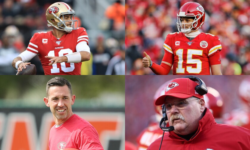 Clockwise from top left: quarterbacks Jimmy Garoppolo of San Francisco and Patrick Mahomes of Kansas City; coaches Andy Reid of Kansas City and Kyle Shanahan of San Francisco.