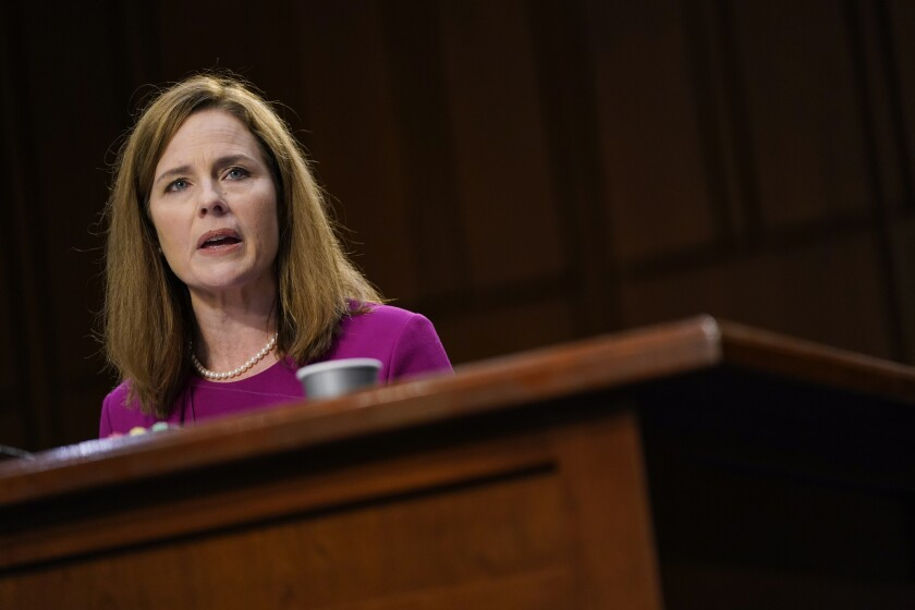 Supreme Court nominee Amy Coney Barrett before the Senate Judiciary Committee on Oct. 12.