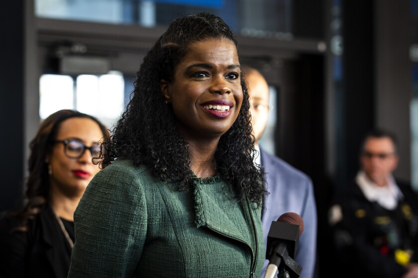 Cook County State's Attorney Kim Foxx speaks during a press conference in Chicago after Foxx filed motions to vacate more than 1,000 low-level cannabis convictions, Wednesday, Dec. 11, 2019. (Ashlee Rezin Garcia/Chicago Sun-Times via AP)