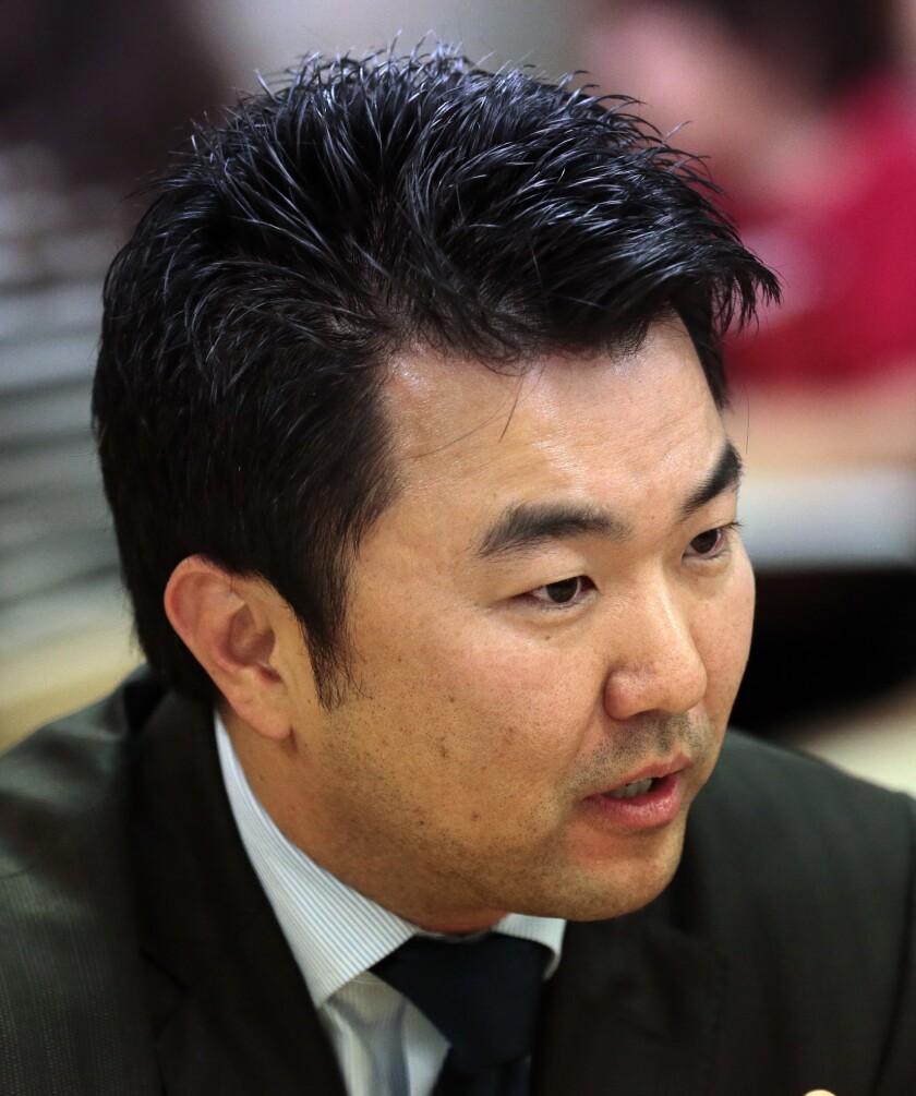 David Ryu speaks at Notre Dame High School in Sherman Oaks on Jan. 21, 2015.