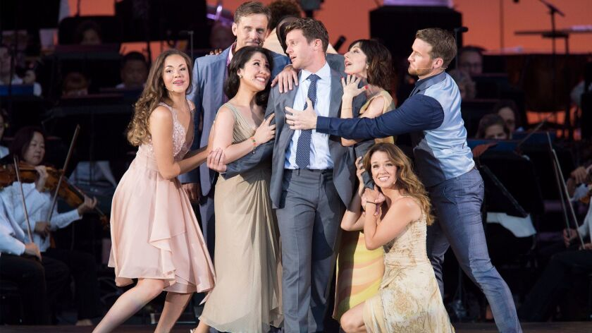 """""""Sondheim on Sondheim"""" with an all-star cast including, from left, Solea Pfeiffer, Lewis Cleale, Ruthie Ann Miles, Jonathan Groff, Carmen Cusack, Sarah Berry and Claybourne Elder."""