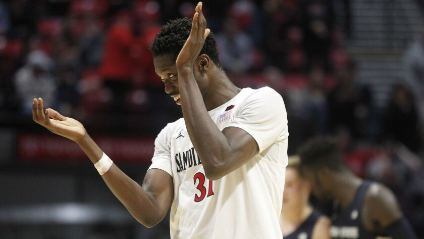 SAN DIEGO, February 9, 2019 | The Aztecs' Nathan Mensah celebrates during the second half against Ut