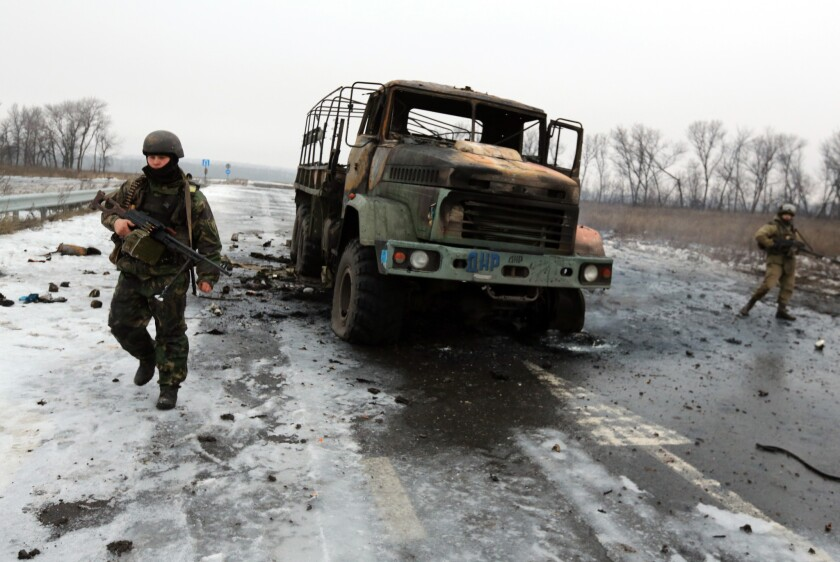 Ukrainian soldiers near Donetsk airport
