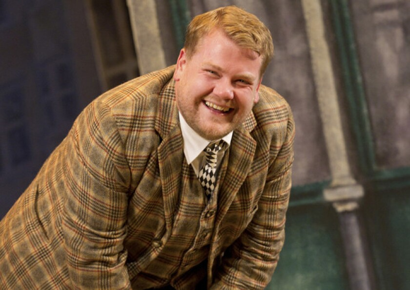 "James Corden in the musical farce ""One Man, Two Guvnors"""