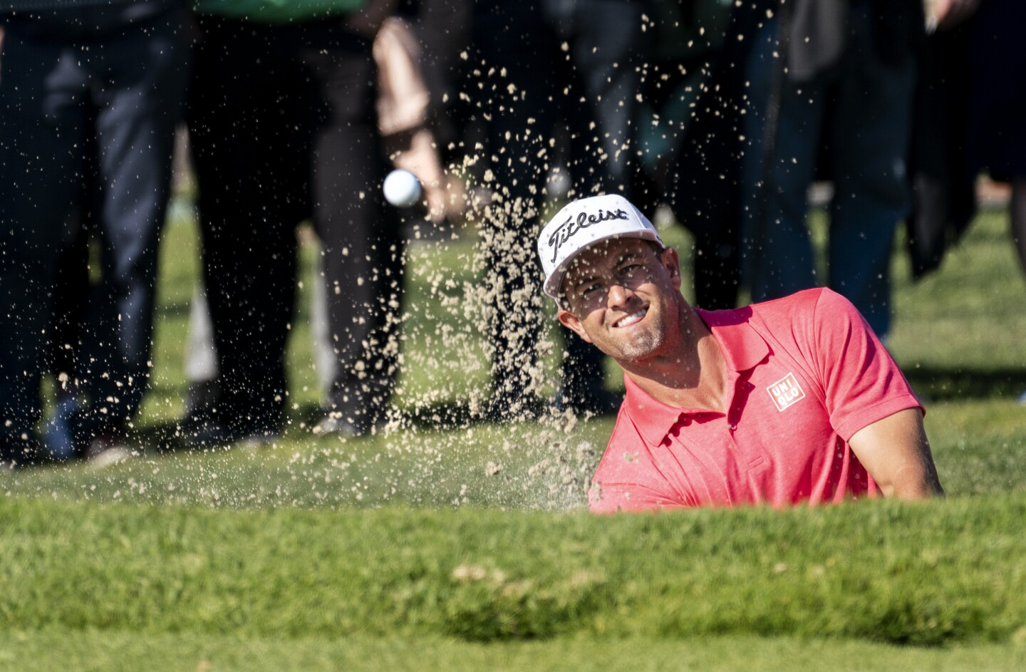 PACIFIC PALISADES, CA - FEBRUARY 16, 2020: Winner Adam Scott blasts out of the sand trap on the 15th hole in the finals of the Genesis Open at Riviera Country Club on February 16, 2020 in Pacific Palisades, California.(Gina Ferazzi/Los AngelesTimes)