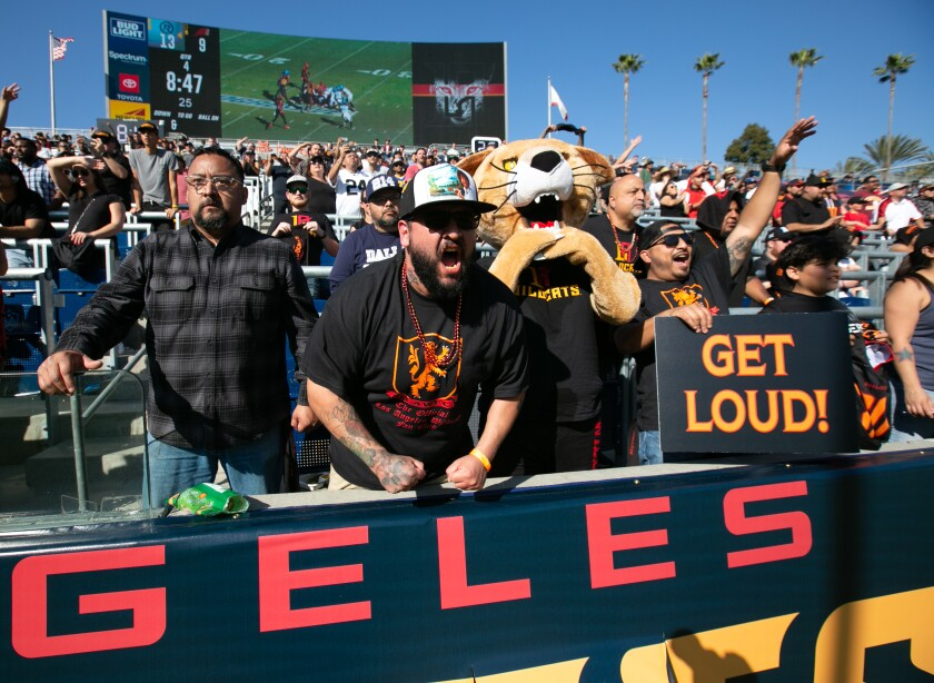 Fans cheer on the Los Angeles Wildcats during their home debut against the Dallas Renegades at Dignity Health Sports Park on Sunday.