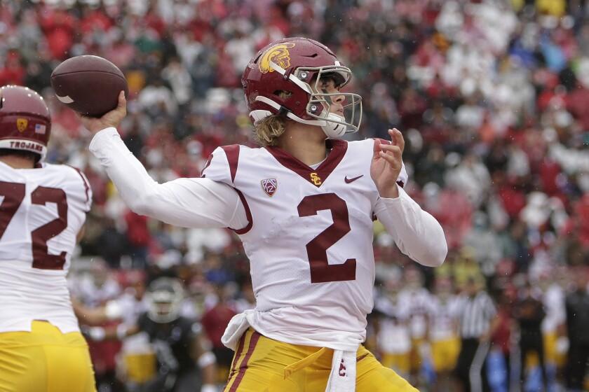 USC quarterback Jaxson Dart throws during the Trojans' 45-14 victory over Washington State on Saturday.