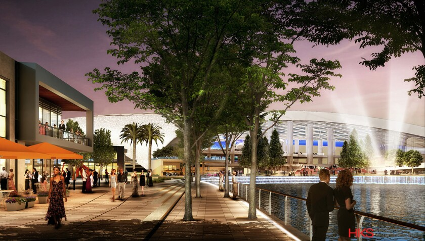 An artist's rendering of the proposed new Inglewood stadium.
