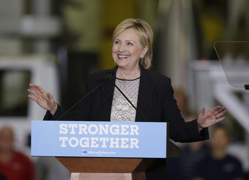 "Hillary Clinton speaks Thursday in Warren, Mich., where she took on Donald Trump's economic agenda and what she called ""outlandish Trumpian ideas."""