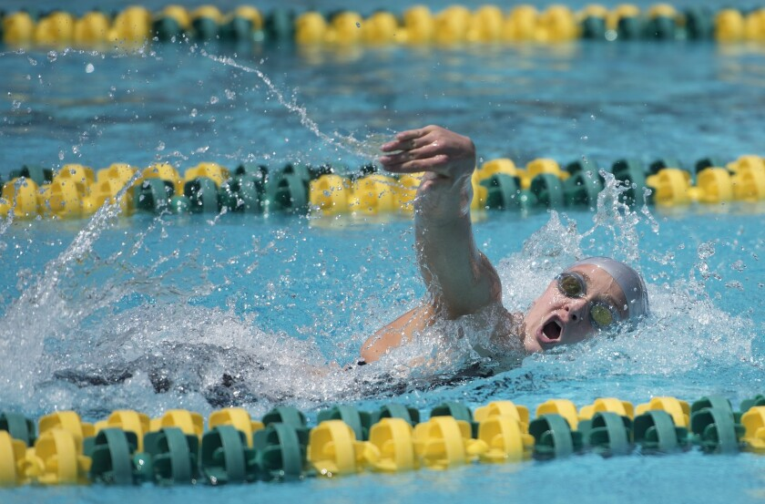 Newport Harbor's Ayla Spitz swims the 200m freestyle with a league record time of 1:45:02 during the