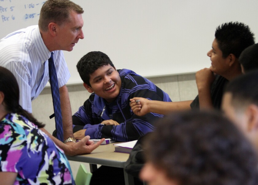 L.A. schools Supt. John Deasy, shown with students, praised Gov. Jerry Brown's budget for schools but said funding still hasn't caught up to what it was in 2008, when the state budget crisis officially began.