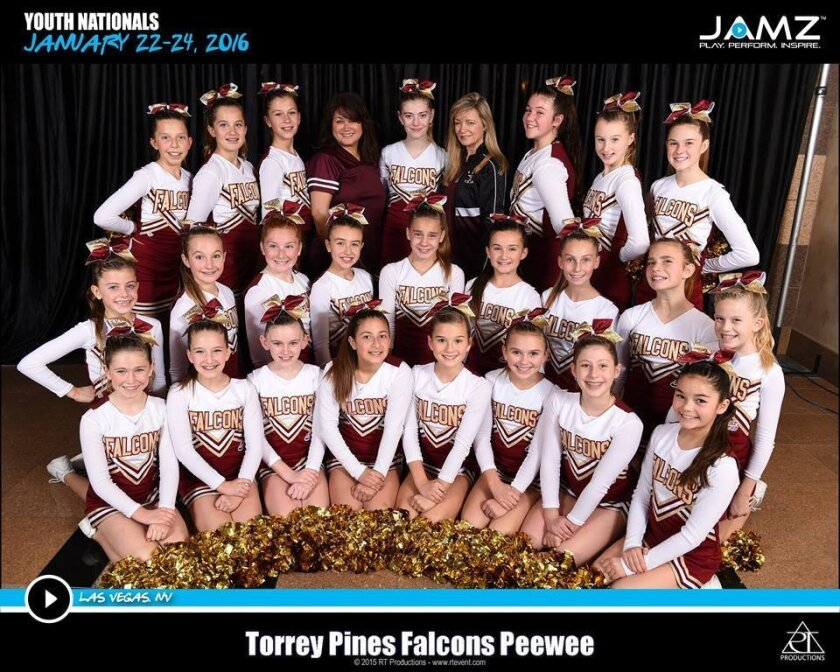 National champions: Torrey Pines Pop Warner Pee Wee Cheerleading team.