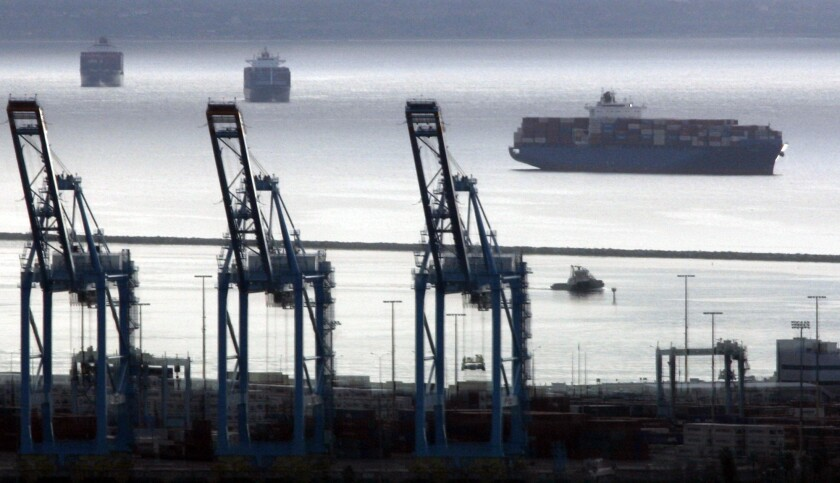 """Container ships near the port of Los Angeles in San Pedro, into which counterfeit goods were shipped in the case of Kevin """"Peter"""" Wang Rosemead."""