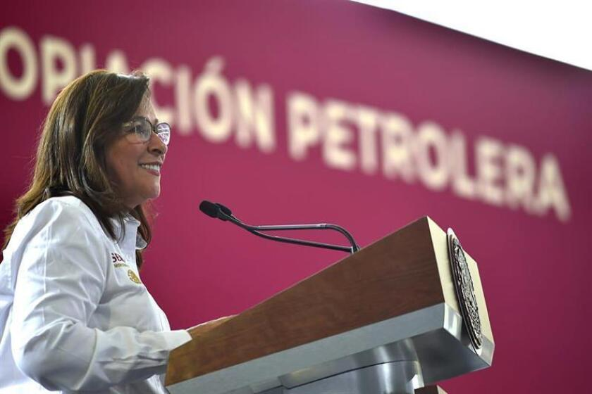 The Secretary of Energy Rocio Nahle Garcia participates in the commemoration of the 81th anniversary of the oil expropriation, in Tula, in the state of Hidalgo, Mexico, 18 March 2019. Obrador, on Monday promised to rescue the oil industry with an increase in production and a new refinery, on the day when the 81th anniversary of the oil expropriation is commemorated. 'We are going to recover the oil production with 20 new oil fields, we are dedicating enough budget for this purpose and we are going to increase the production and for that we are going to rehabilitate the six existing refineries' Lopez Obrador explained in the city of Tula, Hidalgo, where precisely one of the six plants is located. EPA-EFE/ Mexico Presidency EDITORIAL USE ONLY NO SALES