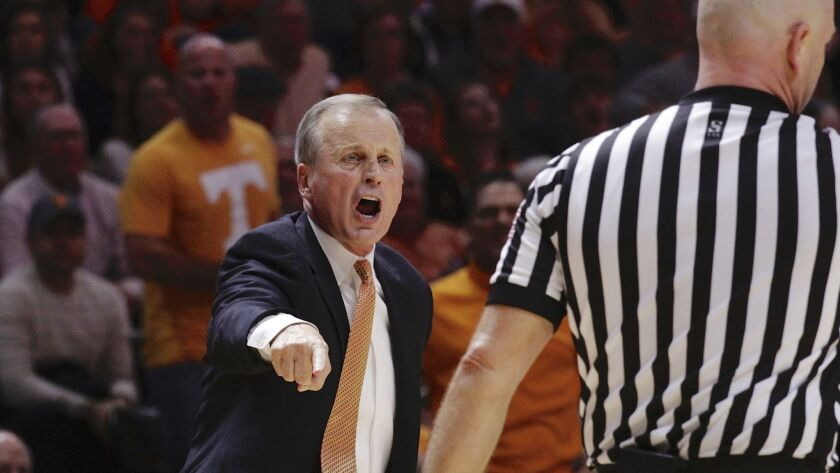 Tennessee head coach Rick Barnes yells from the bench in the second half of an NCAA college basketba