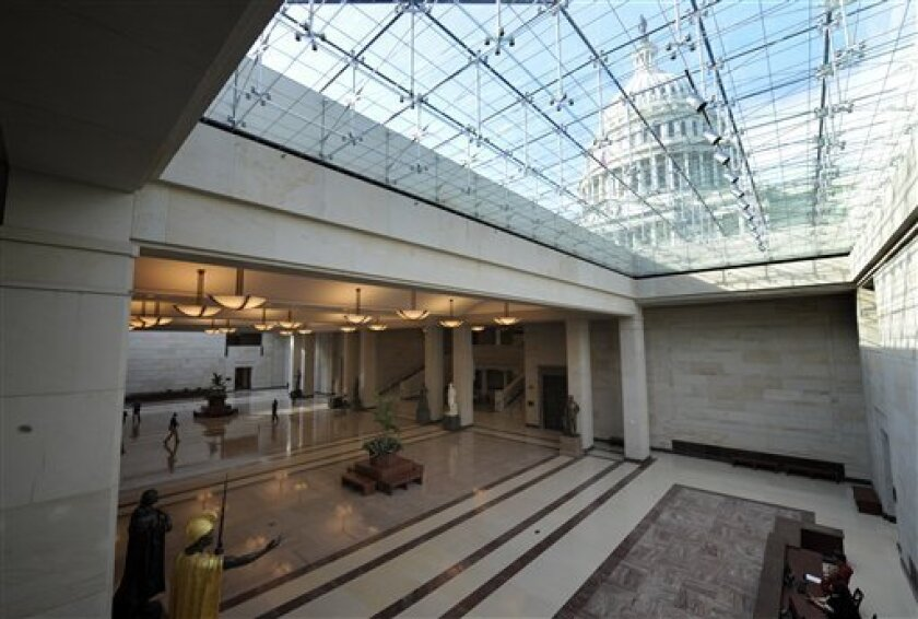 The Capitol Dome is visible through the skylights of the new Capitol Visitor Center on Capitol Hill in Washington, Monday, Nov. 10, 2008. (AP Photo/Susan Walsh)