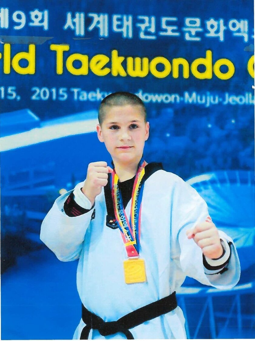 Nicholas A. Carlo, 11, of Rancho Santa Fe recently won the first-place gold medal in Kyorugi — full-contact sparring — at the ninth World Taekwondo Culture Expo held in Korea.
