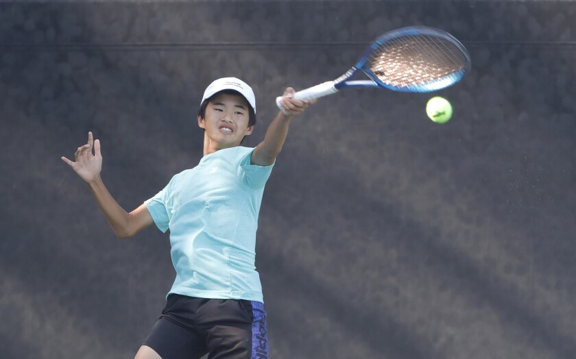 Fountain Valley's David Duon plays in the War by the Shore junior tennis tournament.