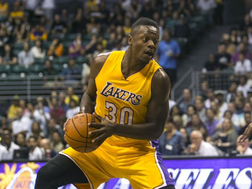 Julius Randle had 17 points with five rebounds in the Lakers' loss to the Toronto Raptors, 105-97, on Thursday in a preseason game.