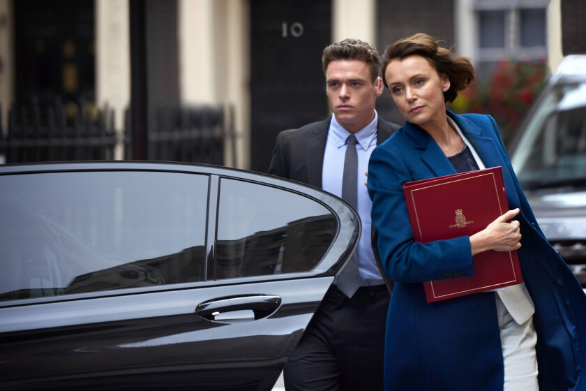 "(L-R) - Richard Madden and Keeley Hawesin a scene from ""Bodyguard."" Credit: World Productions/Netfli"