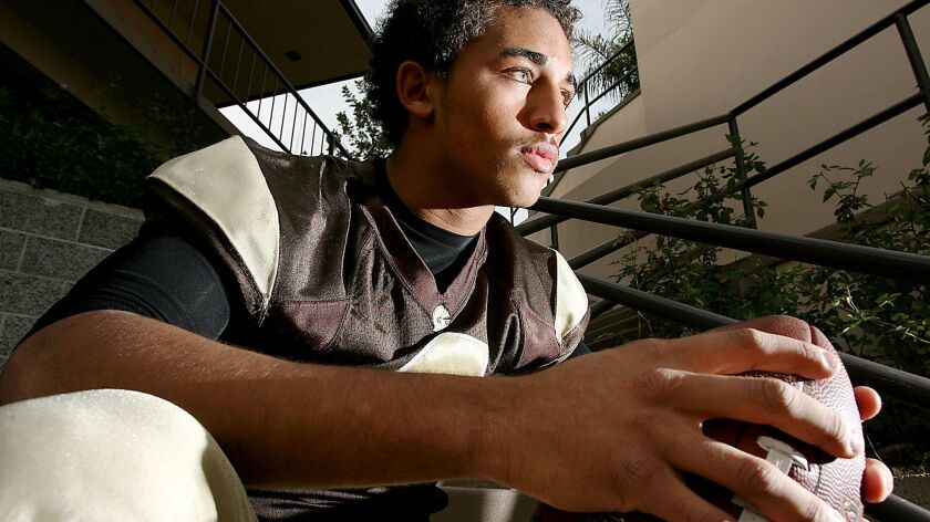 St. Francis football player Deitrich Riley photographed at St. Francis HIgh School in La Canada Frid
