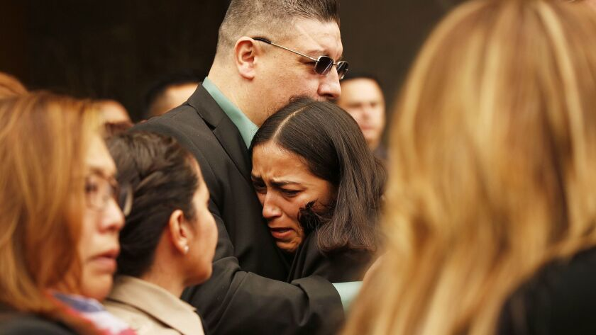 LOS ANGELES, CA - JUNE 24, 2019 - Los Angeles County Sheriff's Deputy Joseph Solano's stepdaughter J