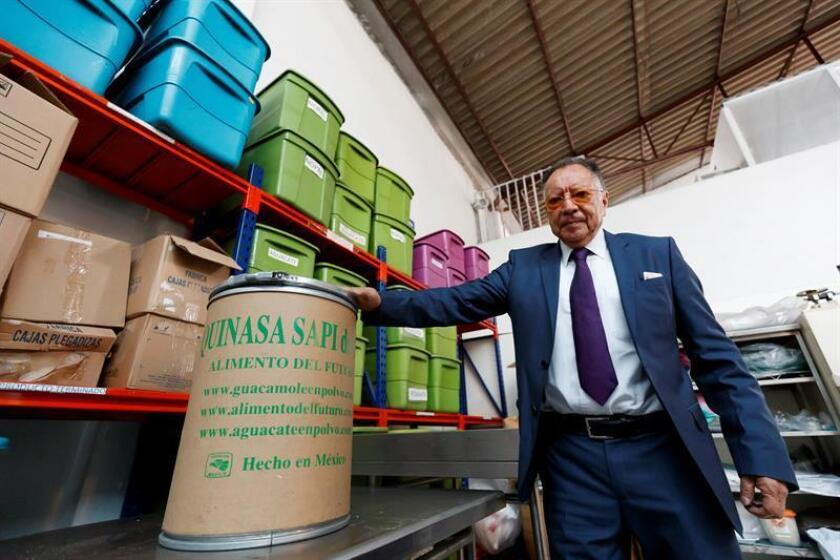 Quinasa director Dimas Jimenez poses for a photo during an interview with EFE on March 1, 2019, in Mexico City, Mexico, where the company is developing the foods of the future - products designed to provide humans with the nutrients necessary for survival in a world plagued by crop failures caused by climate change. EPA-EFE/Jose Mendez