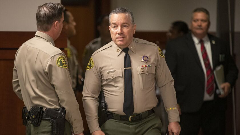 LOS ANGELES, CALIF. -- WEDNESDAY, APRIL 24, 2019: L.A. County Sheriff Alex Villanueva arrives to spe